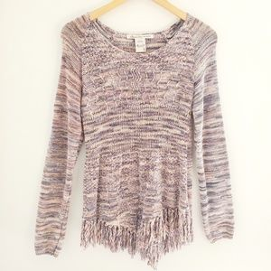 American Rag Pink and Blue Fringe Bottom Sweater